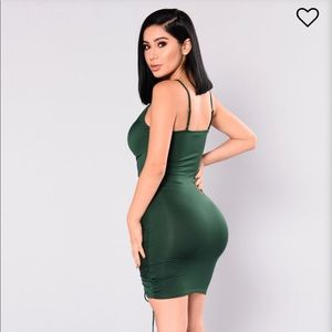 Hunter Green Ruched Club Dress